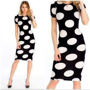 Dresses & Skirts - BLACK CREAM POLKA BODY CON DRESS